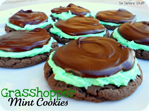 Grasshopper Chocolate Mint Cake Mix Cookies