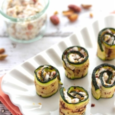 Grilled Zucchini Rolls with Crescenza & Pistachio