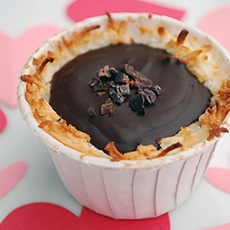 Toasted Coconut Chocolate Valentine Dessert with Cacoa Nibs