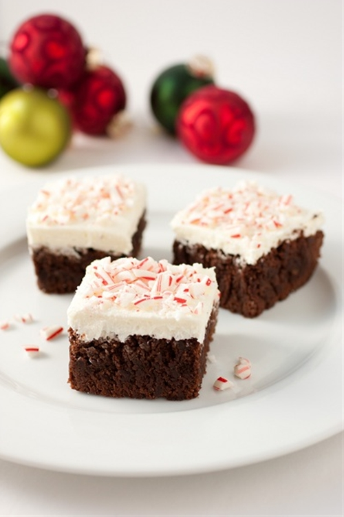 Peppermint Brownies with Peppermint Buttercream Frosting