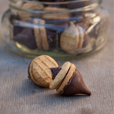 Peanut butter-chocolate acorn cookies