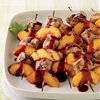 Charcoal-Grilled Chicken and Peach Kebabs With Blackberry Sauce