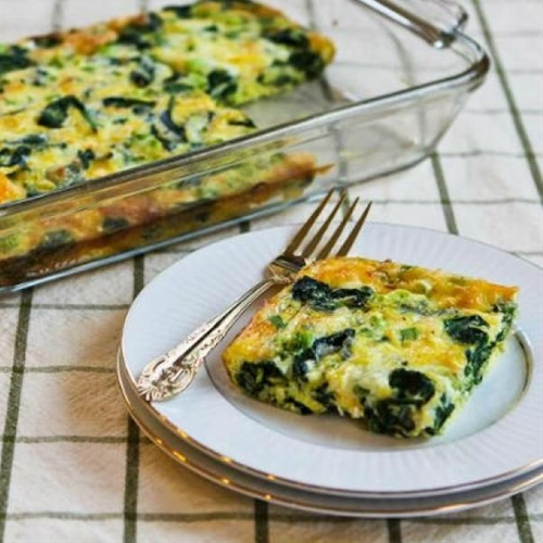 Spinach and Mozzarella Egg Bake - Low-Calorie