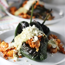 Baked Chile Rellenos with Turkey Chorizo and Poblano Cream Sauce