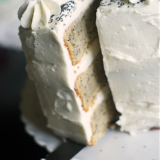 Spiced Poppy Seed Cake with Almond Buttercream Frosting