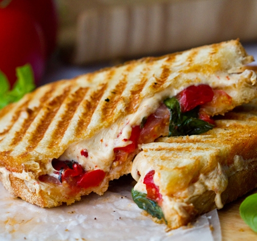 Vegan Tomato Basil Pepperjack Roasted Pepper Panini
