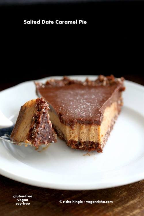 Salted Date Caramel, Chocolate Mousse Pie with Almond Coconut Crust
