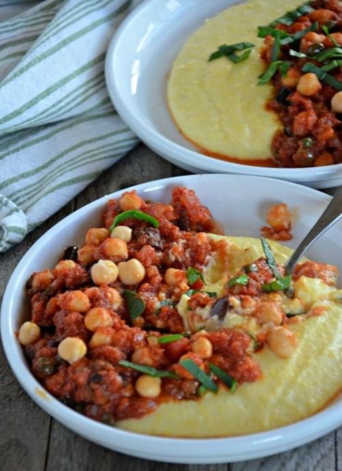 Chickpea Puttanesca over Creamy Polenta