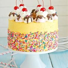 Banana Split Mousse Cake
