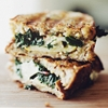 Sauteed chard and Gruyere grilled cheese