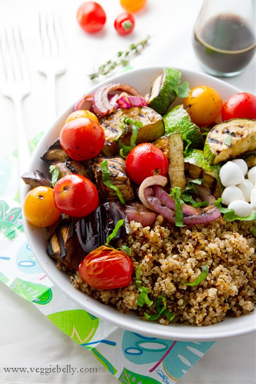 Balsamic Grilled Summer Vegetables, Mozzarella and Basil Quinoa Salad