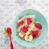 Cranberry and citrus sorbet and its fruit salad