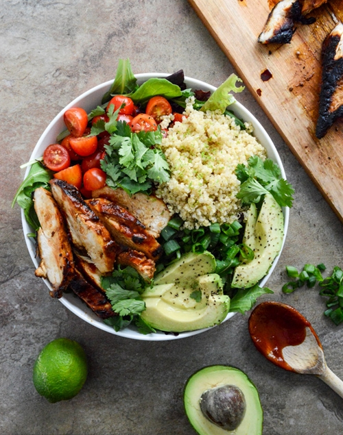 Honey Chipotle Chicken Bowls with Lime Quinoa.