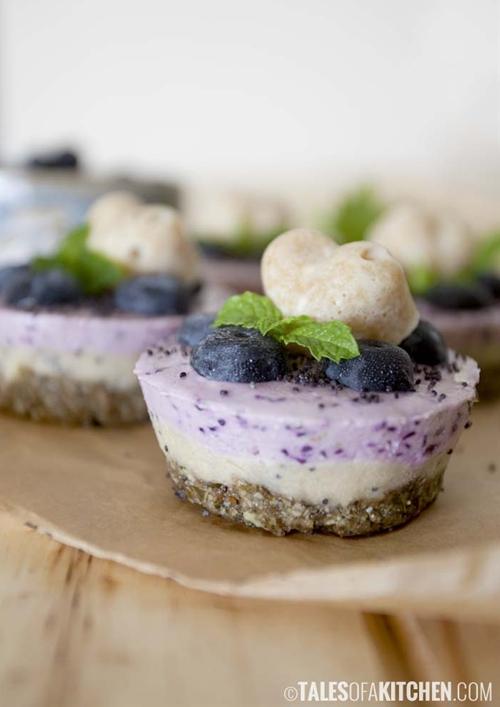 Blueberry lemon mini cheesecakes