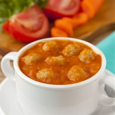 Basil Tomato Soup with Turkey Meatballs