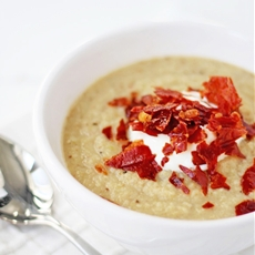 Roasted Cauliflower Soup with Crispy Prosciutto