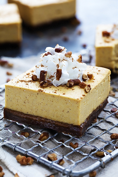 Pumpkin Cheesecake Bars with Gingersnap Crust recipe | Chefthisup