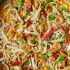 Super Easy Garlic Shrimp and Sun-Dried Tomatoes with Pasta