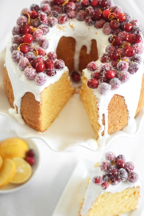 Orange Chiffon Cake with Sparkling Cranberries