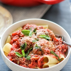 Baked Turkey Parmesan Meatballs with Rigatoni and Chunky Tomato Basil