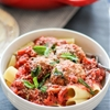 Baked Turkey Parmesan Meatballs with Rigatoni and Chunky Tomato Basil