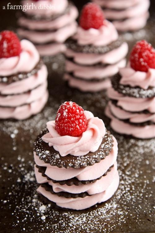 Chocolate and Fresh Raspberry Cream Napoleons
