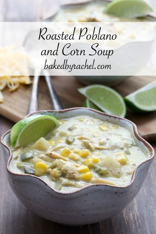 Slow Cooker Roasted Poblano and Corn Soup