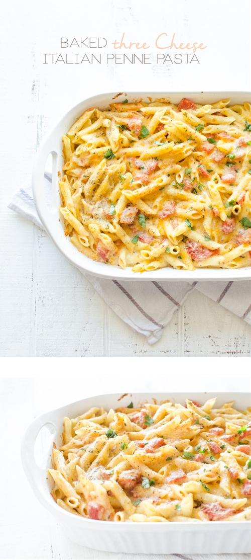 Baked Three-Cheese Italian Penne Pasta