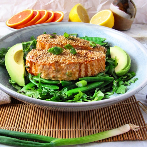 Honey Sesame Ginger Glazed Salmon