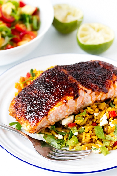 Sugar Spiced Salmon with Fancy Rice