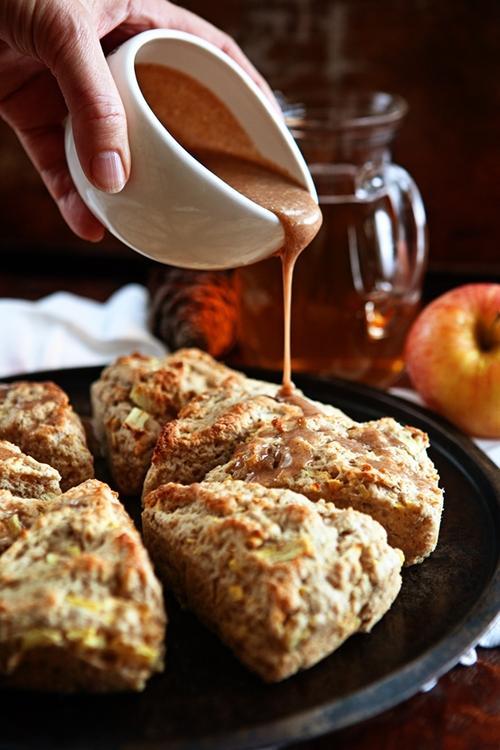Apple Scones with Apple Cider Cinnamon Glaze