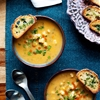 Vegan Buffalo Cauliflower Chowder with Herbed Crostini
