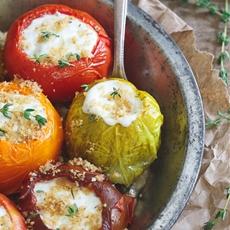 Roasted Stuffed Heirloom Tomatoes