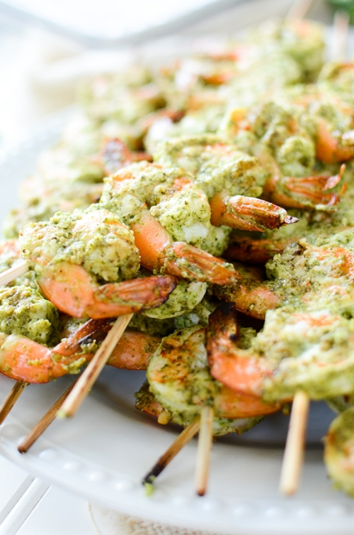 Grilled Cilantro Pesto Shrimp Skewers