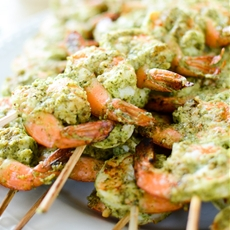 Grilled Cilantro Pesto Shrimp Skewers