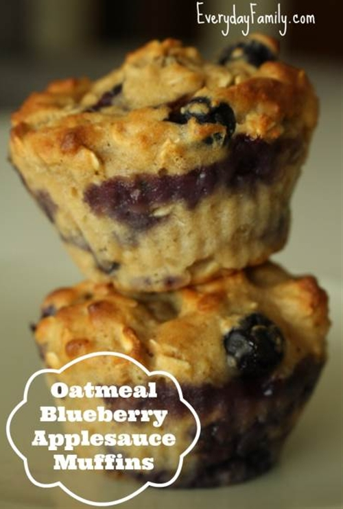 Oatmeal Blueberry Applesauce Muffins