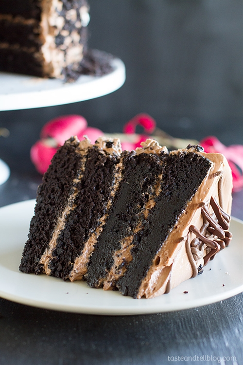 Dark Chocolate Cake with Nutella Buttercream