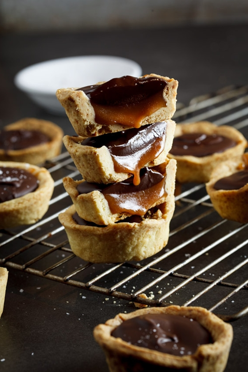 Salted caramel and chocolate cups