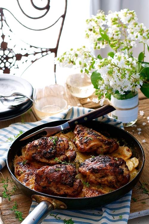 One Pan Rotisserie Flavored Chicken on Potato Gratin