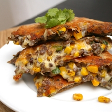 Roasted Corn and Lentil Quesadilla