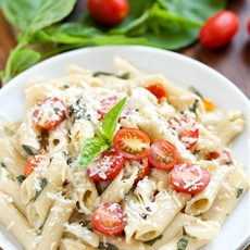 Summertime Penne with Fresh Corn, Tomatoes, and Basil