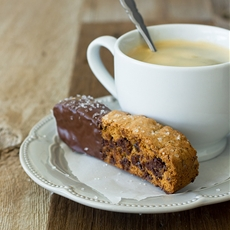 Chocolate-Dipped Caramel Chocolate Chip Biscotti