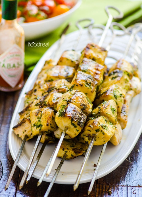 Grilled Spicy Cilantro Fish Kebabs