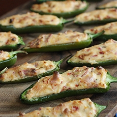 Stuffed Jalapenos with Cream Cheese, Bacon & Sun-Dried Tomatoes