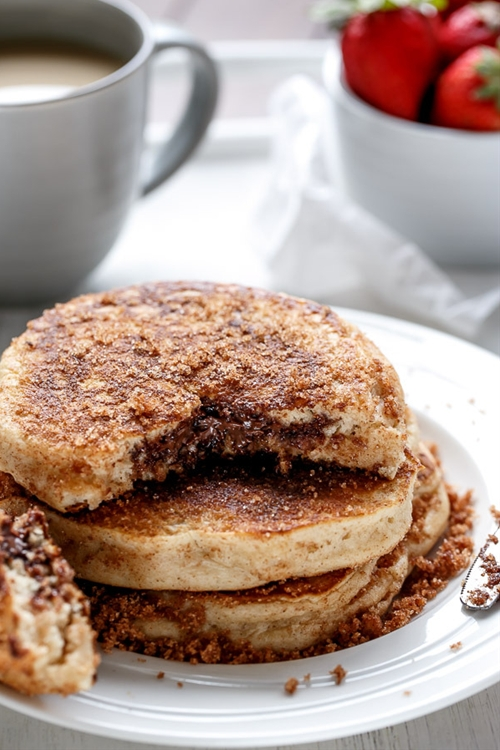 Nutella Stuffed Cinnamon Sugar Donut Pancakes