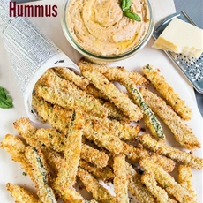 Garlic White Pizza Hummus & Baked Zucchini Fries