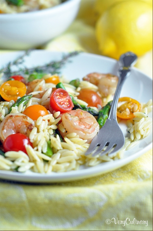 Lemon-Mustard Orzo Salad with Shrimp and Asparagus
