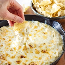 Skinny Green Chile Chicken Enchilada Dip