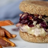 Turkey and Cheddar Burger with Honey Mustard Apple Slaw