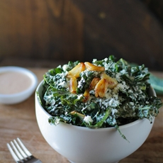 Spicy Kale Caesar Salad with Roasted Garlic